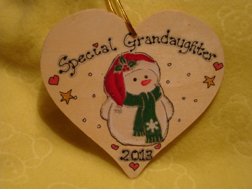Special Grandaughter Snowman Christmas Tree Hanger Decoration Large Wooden Heart Handmade Unique Ready To Go